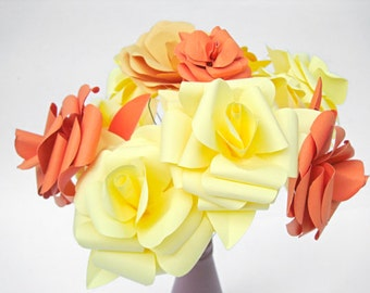 Set of 12 Paper Roses, Yellow Paper Flowers, Orange Stem Flowers, Autumn Paper Flowers Centerpiece , Paper Wedding Decor, Table Centerpiece