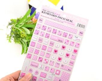 1 Sheet Keyboard Deco Seal Sticker - Keyboard Decals - Lovely Pink Style - MKS0473