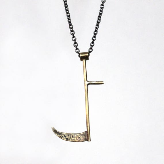 Harvest Scythe Necklace, handmade in brass