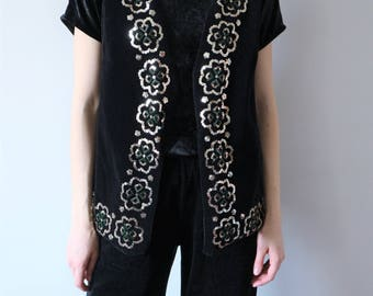 Vintage Black Velvet Vest with Sequins