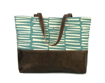 Teal Carryall Tote, Skinny LaMinx print, Tablet bag, Leather bottom bag, Computer tote, Tote handbag, Knitting bag, Large purse, Spring bag