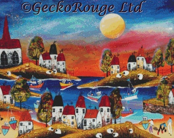 NEW RELEASE - Modern Cross Stitch Kit, New Evening Harbor, Counted Cross Stitch Kit, Sunset, Landscpe Cross Stitch, Rozanne Bell Art,