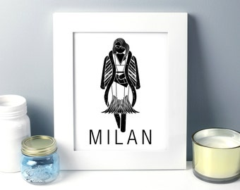 Milan Art Printable, Milan Art, Italy travel Art, City Art Printable,  8 x 10, Fashion Illustration, Milano Fashion, Milano Illustration