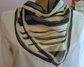 ECHO BLACK & IVORY Chiffon Neck Scarf Diagonal Stripes, Whispery Sheer Delicate Wear, 1970 Retro Design Japan Made Hand Rolled Hems Label