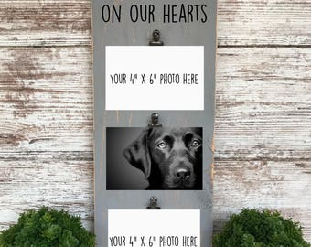 Dog Picture Frame, Dogs Leave Paw Prints on Our Hearts, Dog Lover Gift, Rustic Picture Frame