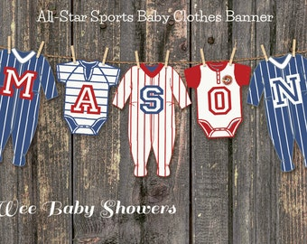 Sports All-Star Baby Shower Baby Clothes Banner