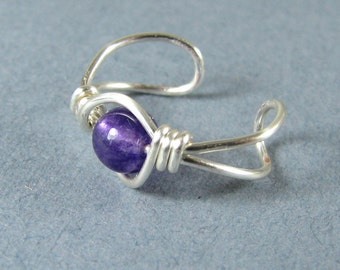 Ear Cuff Genuine Amethyst Sterling Silver ear cuff non pierced cartilage earring choice of bead