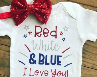 Red White & Blue July 4th Bodysuit