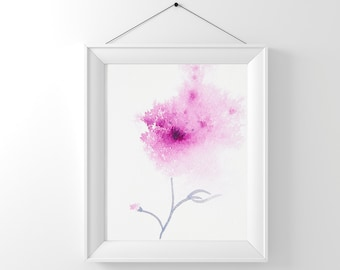 Printable wall art, Abstract flower painting Instant Digital Download, Pink flower art, Abstract Print