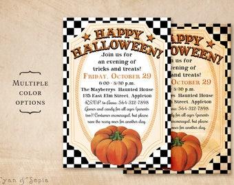 Printable Halloween Party Invitation - 5x7 - Country Pumpkin - Checkered 50s Kid-Friendly Family Retro Vintage Orange Black White