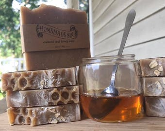 Oatmeal and Honey Handmade Hot Process Soap- Made in Knoxville Tennessee -