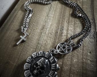 Silver necklace men mixed Hard Skull 666 666