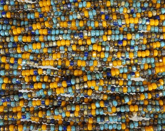 6/0 3 Cut Opaque Southwest Sunset Picasso Mix Firepolish Czech Glass Seed Beads 20 Inch Strand (AW310)