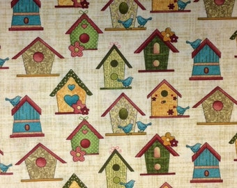 Bernartex GARDEN DAYS (Bird Houses - Natural) - 100% Premium Cotton Fabric for Quilting - sold by 1/2 yard