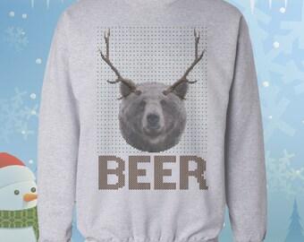 Beer Bear Deer - Drunk Ugly Christmas Sweater - Sweatshirt - Jumper - Funny