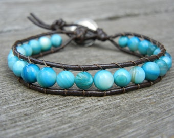 Beaded Single Wrap Bracelet Stackable Friendship Bracelet with Turquoise Beads on Genuine Brown Leather Southwestern Style
