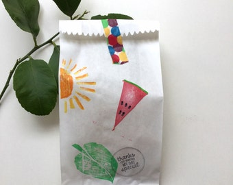 VERY HUNGRY CATERPILLAR Watermelon, sun theme paper favour bags. very hungry caterpillar party, watermelon , caterpillar party theme. X 10