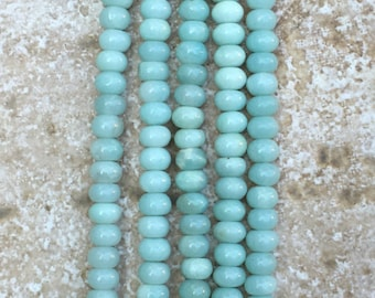 "Amazonite Beads - Mint Green Amazonite Beads, 4x6mm Sea Foam Green smooth rondelle beads - FULL 16"" strand (about 90 beads) - G1013"