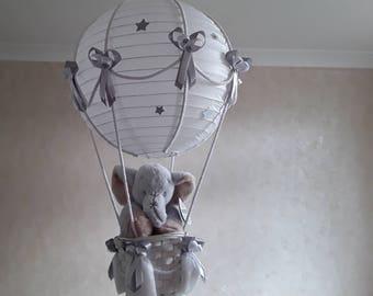 Hot Air Balloon Nursery light shade with cute little Elephant