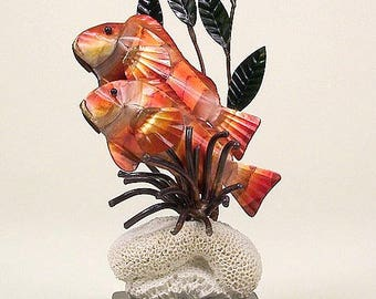 Clownfish W/Sea Anemone Metal Artwork