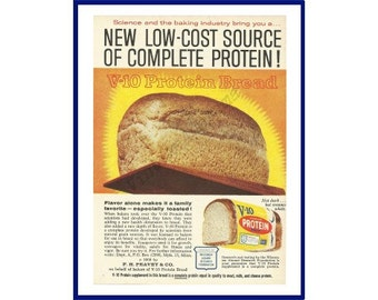 """V-10 PROTEIN BREAD Original 1964 Vintage Color Print Ad - Golden Loaf on Bread Peel {Paddle} """"New Low-Cost Source Of Complete Protein!"""""""
