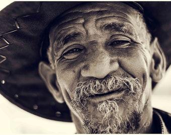 "Photography of Art-Sepia/black and white Fine art Portrait ""Viel man to the smile"" - Vintage Black and White Photography - Art Print"