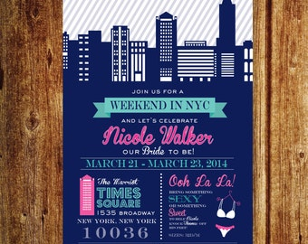 NYC Bachelorette Weekend Invitation, New York City Birthday Party Weekend, Custom Printable File