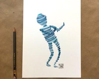 Dance Bot - original watercolor painting