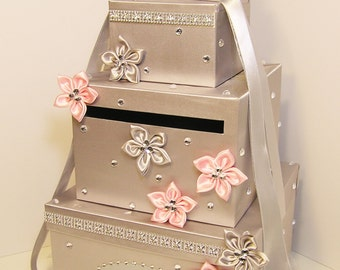 Wedding Card Box Silver and Light Pink Gift Card Box Money Box Holder-Customize your color