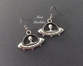 UFO Alien Charm Earrings. Spooky. Outer Space. Silver. Under 10. Gifts. Unisex. Silver Dangle Earrings. Spooky Alien Halloween Oddities.