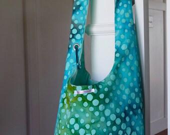 Boho Bag blue and turquoise batik, blue cross body bag, tote bag, fabric purse, blue hobo bag