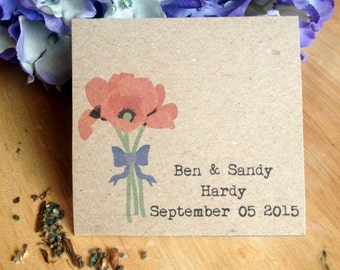"Seed Bag Wedding Favor ""Poppy""- Eco Friendly 100% Recycled Bag - Empty"