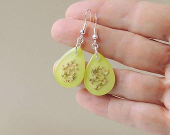 Lime Green Flower Earrings, Real Heather in Citrus Resin Drop Earrings,Heather Jewelry, Resin Jewelry, Botanical Jewellery, UK Seller