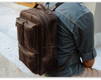 Waxed Leather Backpack/Coffee Brown Leather Backpack Men / Brown Laptop backpack for Men/Work Backpack /Travel Backpack/FREE Personalization