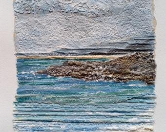 St Ives Seascape, Original Acrylic Collage Seascape Painting