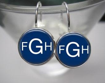 Custom Monogram Earrings -12mm Lever Back Silver Dangle Earrings