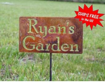 Custom Garden Stake, garden marker, Gardener Gift, Mom's Garden, Dad's Garden, My garden sign, garden stake, memorial sign, pet memorial