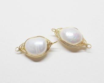 P0687/Anti-Tarnished Gold Plating Over Brass + Fresh Water Pearl/Wired Fresh Water Pearl Connector/11x21mm/2pcs