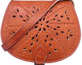 Handmade Real Leather Saddle Handbag Vintage Style Cutwork in Tan
