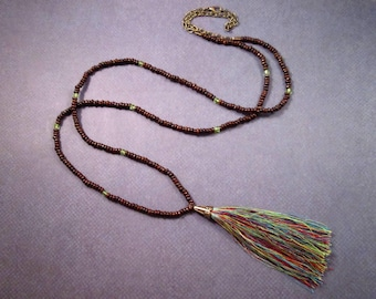 Extra Long Rainbow Tassel Necklace, Rayon Tassel and Wood Beaded Brass Chain Necklace, FREE Shipping U.S.