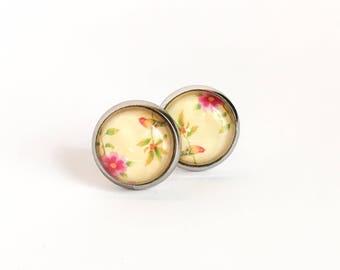 Clous d'oreilles jaune avec fleur, Boucles d'oreilles chien, Boucles d'oreilles pour fille, Acier inoxydable, Boucles d'oreilles pour femmes