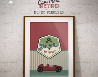 Kit printable Auto's career red Vintage Retro Racing Cars - printable kits