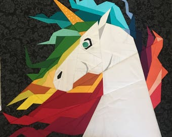 Rainbow Unicorn Head Foundation Paper Piecing Pattern