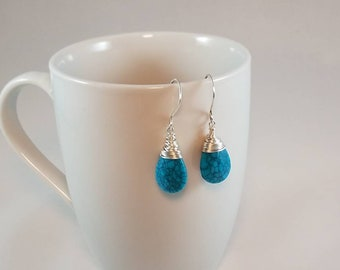 Silver-wrapped Turquoise Briolette Earrings