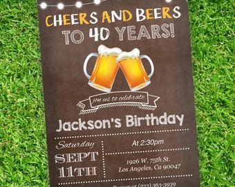 Brown Beers Cheers Birthday Invite | Beer Birthday invitations  | Adult invites | Downloadable invitations | DIY Party Invitation