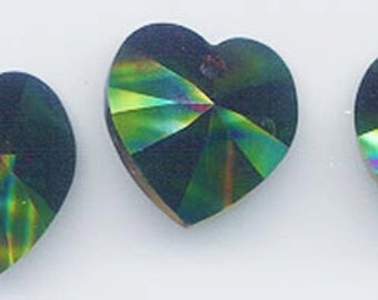 Wow - rainbow dark - Swarovski's newest and most beautiful color - 4 pieces - Art 6228 (heart pendant) - 18 x 17.5 mm