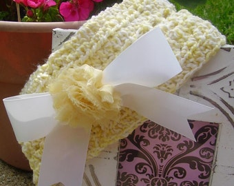 Girls yellow and white spring headband FREE shipping