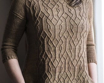 INSTANT DOWNLOAD PDF Knitting Pattern for Women's Aran Sweater Pullover Jumper Top Twisted stitch and Cable Round Neck 3/4 Sleeves