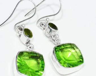 """Sterling Silver Peridot Earrings, Silver Earrings, Peridot Earrings, Square, 2-Stone .925 Sterling Silver Earrings 2""""x0.6"""" (With Hook)"""
