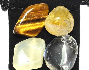 MANIFEST LUCK Tumbled Crystal Healing Set- 4 Gemstones w/Description & Pouch - Citrine, Clear Quartz, Moonstone, and Tigers Eye